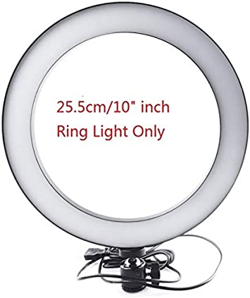 SSEDEW 16//26cm Dimmable LED Studio Camera Ring Light Phone Video Light Lamp Selfie Stick Ring Table Fill Light 26CM Single lamp od Trip