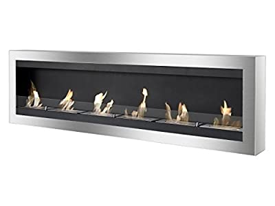 Ignis Maximum Wall Mount Ventless Ethanol Fireplace with Glass
