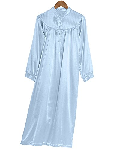 National Brushed Back Satin Nightgown, Blue, Medium - Misses, -