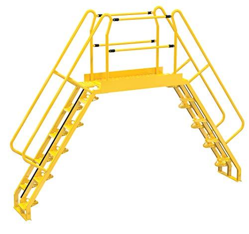 """Vestil COLA-6-56-56 Yellow Alternating Cross-Over Ladder, 150"""" x 115"""", 20, 350 lb. Capacity"""