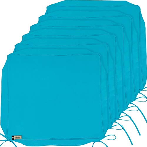Outdoor Cushion Covers, 6-Pack Deep Seat Patio Cushion Cover, Heavy Duty Outdoor Furniture Lawn Couch Sofa Chair Seat Cushion Replacement, 24 x 22 x 4 Thick, Set of 6, Turquoise (Cushions 22x22 Outdoor)