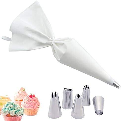Blanc Douille Patisserie Poche à Douille Patisserie ,Réutilisable Résistant à L'ébullition Coton Piping Bag avec 5 Pièces Becs Acier Inoxydable