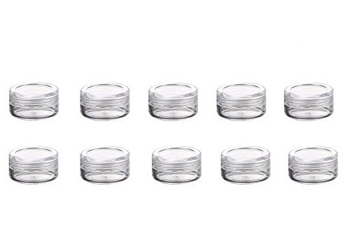 3 Gram Jar, 3 ML Jar, 50 pcs Refillable Clear Plastic Screw