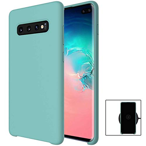 (evershare Galaxy S10 Plus Case Soft Liquid Silicone Ultra-Thin Lightweight Shockproof Slim Fit Cover for Galaxy S10 Plus, Light-Blue)