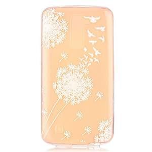 case cover para LG K7,Crisant diente de león blanco Diseño Protección suave Transparente TPU Gel silicona Teléfono Celular Back funda Carcasa para LG K7