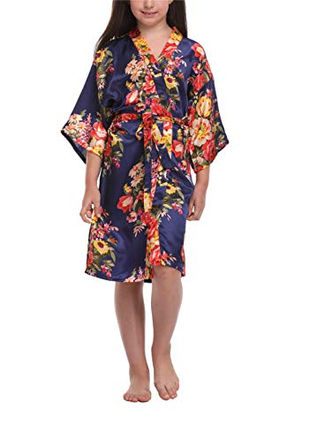 Flower Print Satin - Floral Satin Kimono Robes for Girls Getting Ready Robes for Wedding Party Navy