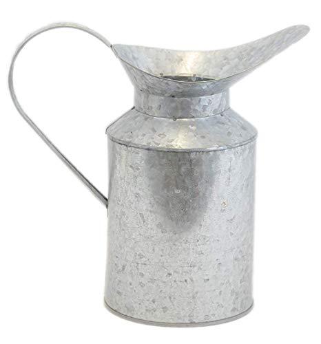 Rustic Galvanized Metal Pitcher Vase