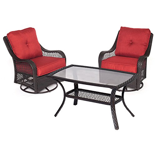 Hanover Orleans 3 Piece Patio Chat Set in Autumn Berry
