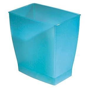 InterDesign Mono Wastebasket Trash Can For Bathroom, Kitchen, Office    Azure Blue