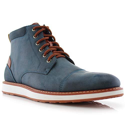 Ferro Aldo Birt MFA506027 Mens Memory Foam Casual Mid-Top Sneaker Desert Vegan Leather Chukka Boots Blue (Sneaker High Zipper Men Top)