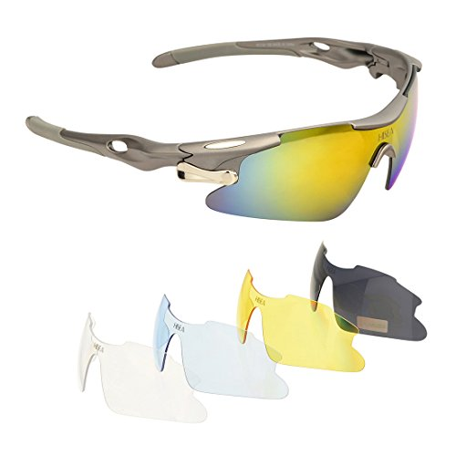 Hisea Polarized Sports Sunglasses with 5 Interchangeable Lenes for Men Women Cycling Running Driving Fishing Golf Baseball Glasses, Tr90 Unbreakable - Fishing Readers Polarized