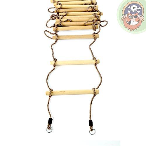 Échelle en corde pour enfants avec 12 marches en bois, longueur 440 cm - Jeu d'escalade de Gartenpirat®