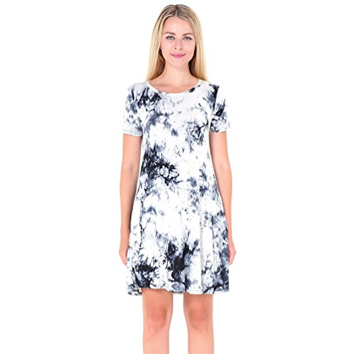 NiSeng Mujer T-Shirt Vestido Suelto Casual Cuello Redondo Mangas Cortas Mini Vestido Blanco