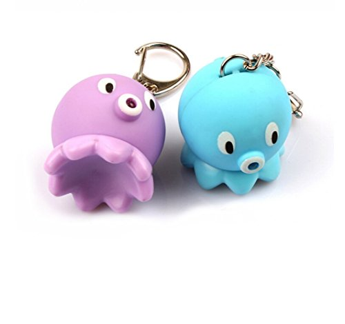 Mkring Cute Octopus Opisthoteuthis Adorabilis Keychain with Flashlight - Mini Led Keychain Flashlight - Light and Sound Effect - Purple & Blue Pack of 2