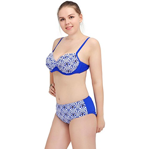 SZH YIBI La Sra gran tamaño bikini de alta elasticidad ambiental de fertilizantes para aumentar Europa y el traje de baño partido Estados Unidos Blue