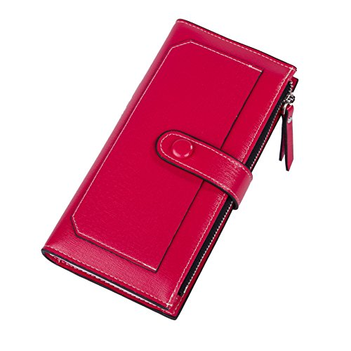 Baellerry Women Soft Leather Long Wallet Large Capacity Cluth Ladies Purse Card Holder (red) by Baellerry