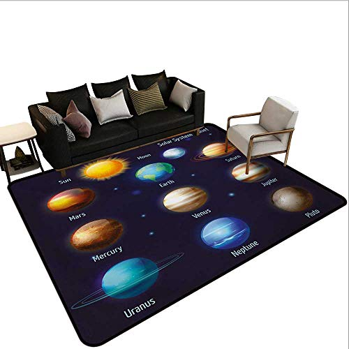 Indoor Floor mat,Solar System Planets and The Sun Pictograms Set Astronomical Colorful Design 6'x9',Can be Used for Floor Decoration Bb Set Solar System