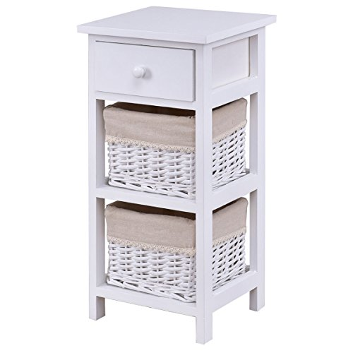 End Cabinet Round Table (End Table Bedside Nightstand Chest Cabinet Bedroom Furniture with Drawer and Two Wicker Rattan Baskets White)