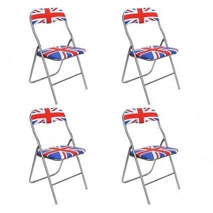 Sillas plegables London-Juego de 4: Amazon.es: Hogar