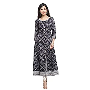 Yash Gallery Women Cotton Bandhej Print Anarkali Kurta (Black)