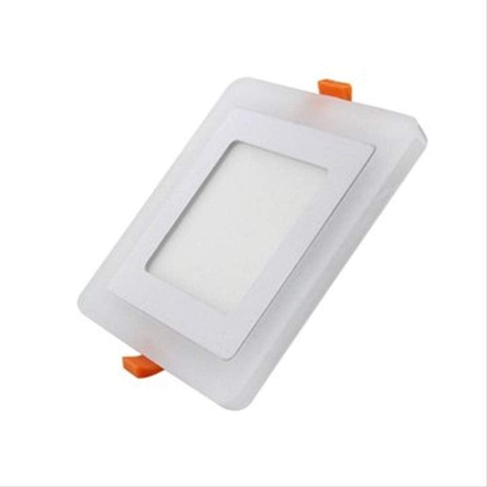 SQWKLuz de panel de techo LEDultradelgada Lámpara empotrada detecho LED Cuadrada redonda Luz de panel de dos colores Luz empotrada de interior 16W Cuadrada190x13mm Blanco cálido Azul