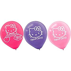 "Hello Kitty Rainbow Printed Latex Balloons Birthday Party Decorations (6 Pack), Multi Color, 6.5"" x 4.7""."