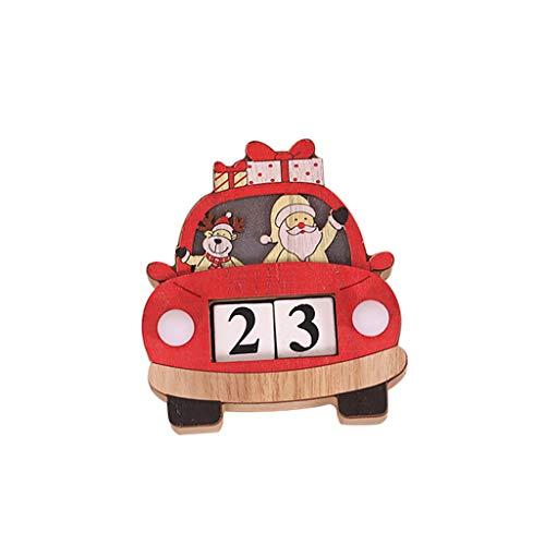 Fan-Ling 1pcs Christmas Cartoon Car Shape Calendar Wood Desk Glowing Light Countdown Decor,Cute Decor Wooden Ornaments (Seaside Statues)