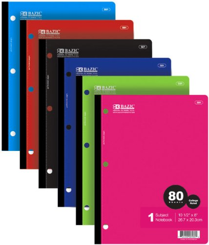3 Pk, BAZIC 581 College Ruled 80 Sheets Wireless Notebook