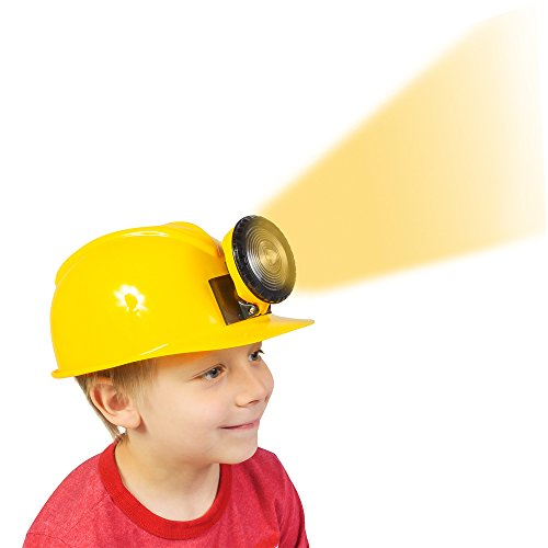 Plastic Hard Hats For Kids (Construction Hat - Dress Up for Kids & Adults - Adjustable Miner Hat with Light by Funny Party Hats)