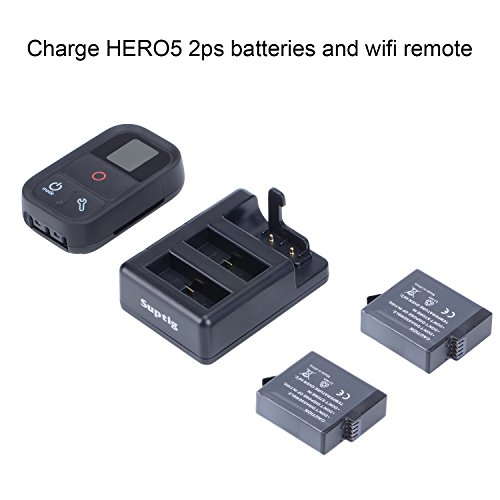 Suptig Battery Charger Triple Charger for GoPro Hero 8 Black Hero 7 Black Hero 5 GoPro Hero 6 Hero 2018 and for Gopro WiFi Remote or Suptig WiFi Remote Charger
