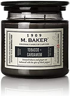 product image for M. Baker by Colonial Candle Scented Apothecary Glass Jar Candle, Tobacco & Cardamom, Natural Soy Wax Blend, 14 Oz, Two Premium Cotton Wicks, Single (Black Pepper, Cardamom, Ginger, Nutmeg, Cinnamon)