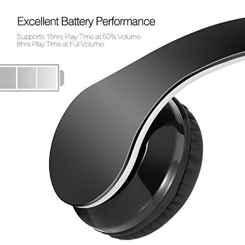 Wireless headset Dylan V4.1 Bluetooth Foldable Hi-Fi Stereo Over-Ear Headphone with 3.5mm Audio Jack MIC for Smart Phones & Tablets - Black