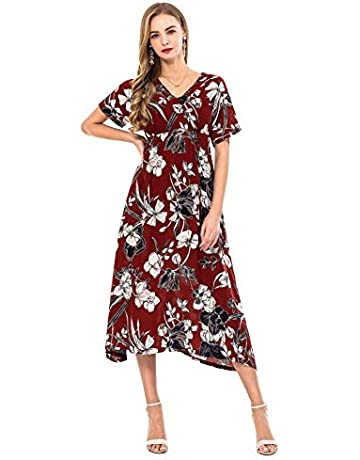 a62f4f6c411c7 Wantdo Vestido Maxi Largo Estampado Verano Cuello V para Mujer de Playa  Estilo Bohemo Talla Extra