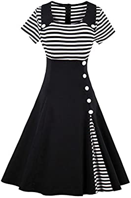 Babyonline Women Striped Short Sleeves A line Cocktail Party Swing Dress