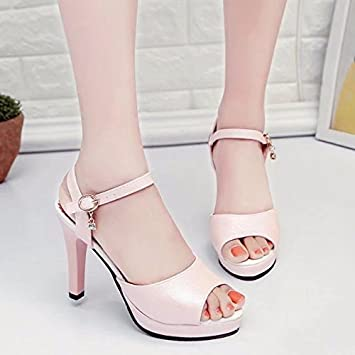 9652628e396104 LGK FA Summer Women S Sandals Ladies Sandals Summer Water Table Fine Heel  High-Heeled Sandals 39