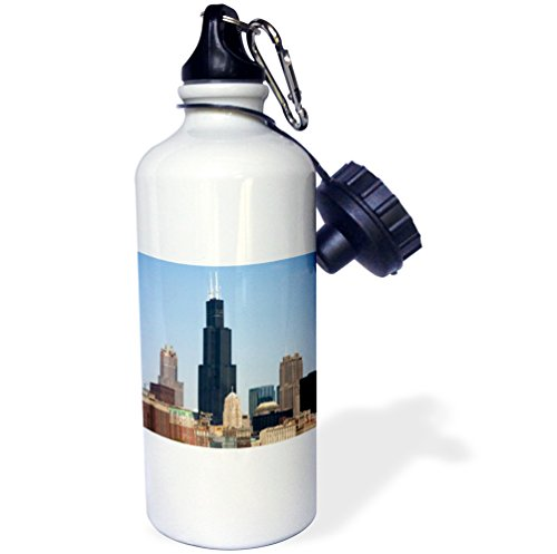 3dRose wb_90187_1 Willis and Sears Tower, Chicago River, Il US14 DFR0095 David R Frazier Sports Water Bottle, 21 oz, - Tower Chicago Water