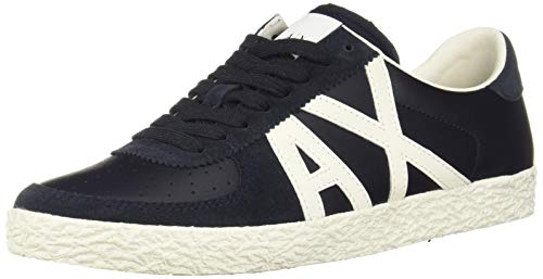 A|X Armani Exchange Men's Large Logo Low Top Sneaker Navy + Off White Details, 9 ()