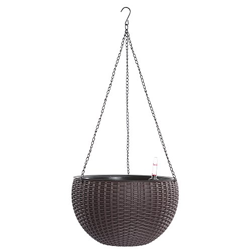 Hanging Planter, Dia 10.4 in Round Resin Self-Watering Hanging Basket for Indoor/Outdoor, Garden Plant Planter Hanging Decor Pot(Brown) by UTOKIA