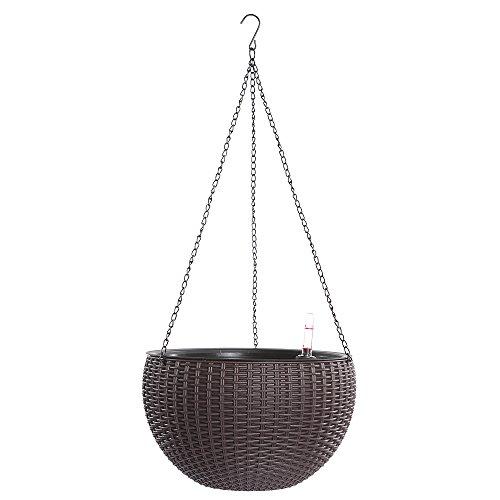 Hanging Planter, Dia 10.4 in Round Resin Self-Watering Hanging Basket for Indoor/Outdoor, Garden Plant Planter Hanging Decor ()