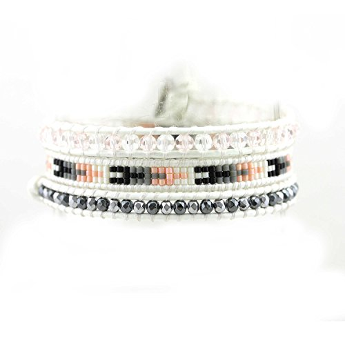 Handmade Leather Bracelet Bangle Cuff Rope Bead 3 Wrap Adjustable Bracelet with Stainless Steel Clasp White