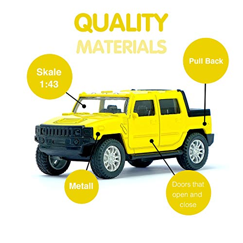 AutoGrad Yellow Pickup Truck Hummer | Small Metal Push and Go Friction Powered Car Model (Car Hummer Model)