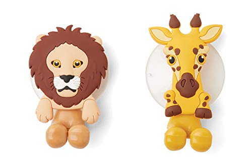 Fox Run Giraffe and Lion Toothbrush Holders, 1.5 x 2 x 3.25, Multicolored