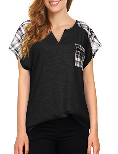 Vivilli Women's Casual Chiffon Summer Blouse Tee V Neck Short Bat Wing Sleeve Top Shirts Black XX-Large