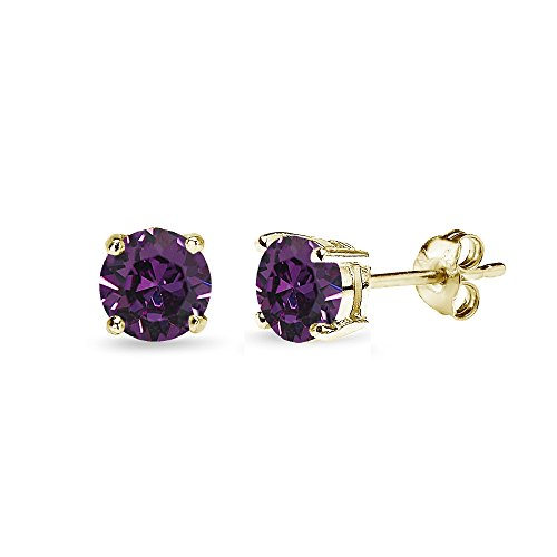 Yellow Gold Flashed Sterling Silver 5mm Round Purple Stud Earrings created with Swarovski Crystals