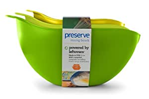 Preserve Nested Mixing Bowl Set Made from Recycled Plastic, Set of Three, Green and Yellow