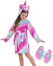 Cesriter Unicorn Hooded Bathrobe Sleepwear Matching Slippers Girls Gifts