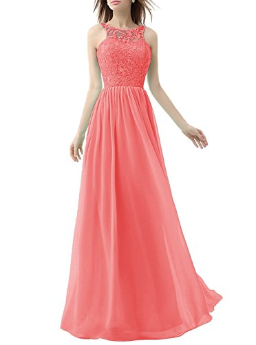 Prom Long Bridal Gowns Chiffon Dresses Coral Lace Women's Evening Anna's H710gwvwq