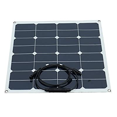 Rarido 50W 12V DC Semi-Flexible Front Connection Monocrystalline Silicon Solar Panel with Alligator Clip
