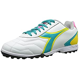 Diadora Women's Capitano Lt Soccer Turf Shoes, White/Teal, 7 M US