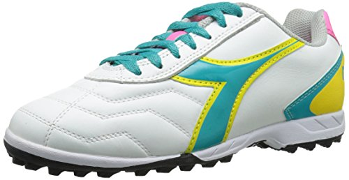 Diadora Women's Capitano LT Turf-W, White/Teal, 6 M US